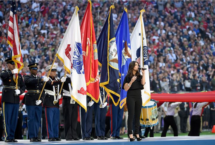 Idina Menzel sings the National Anthem prior to the start of Super Bowl XLIX on Feb. 1, 2015, at the University of Phoen