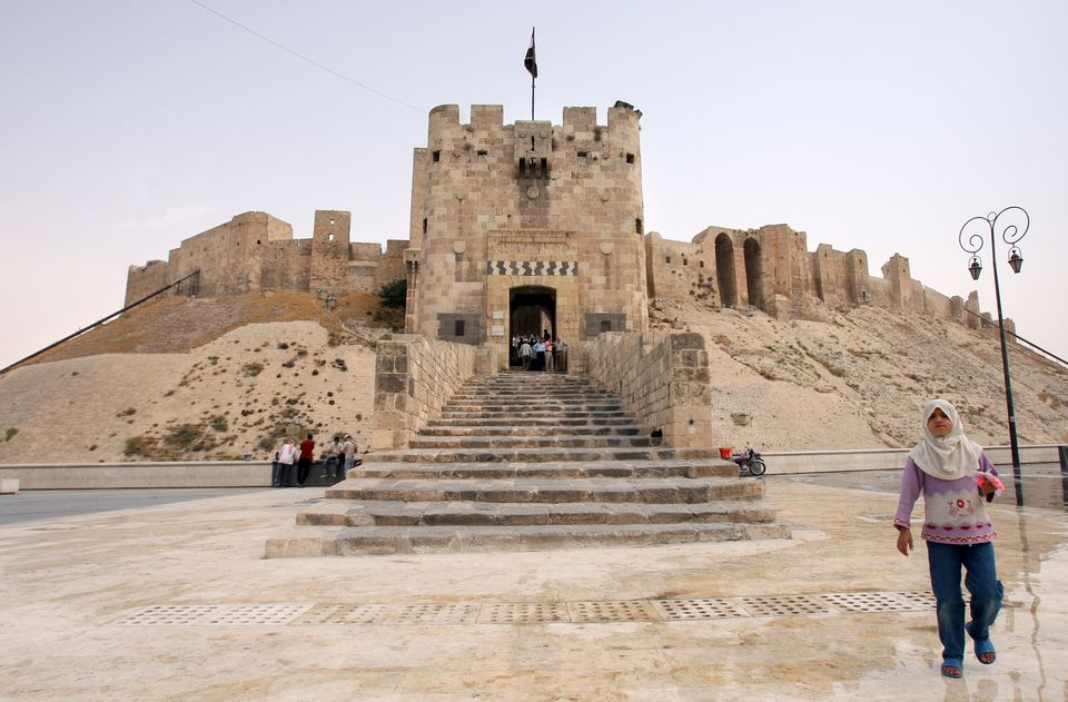 This Aug. 28, 2008 photo shows the fortified entrance and outer gate of the Citadel of Aleppo. The structure is located in th