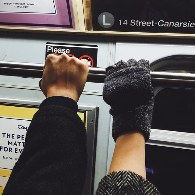 Love (or something like it) on the L train.