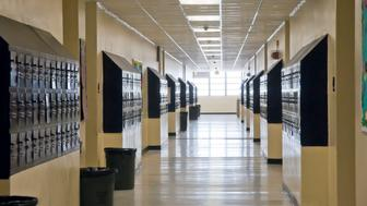 A high school hallway lined with lockers