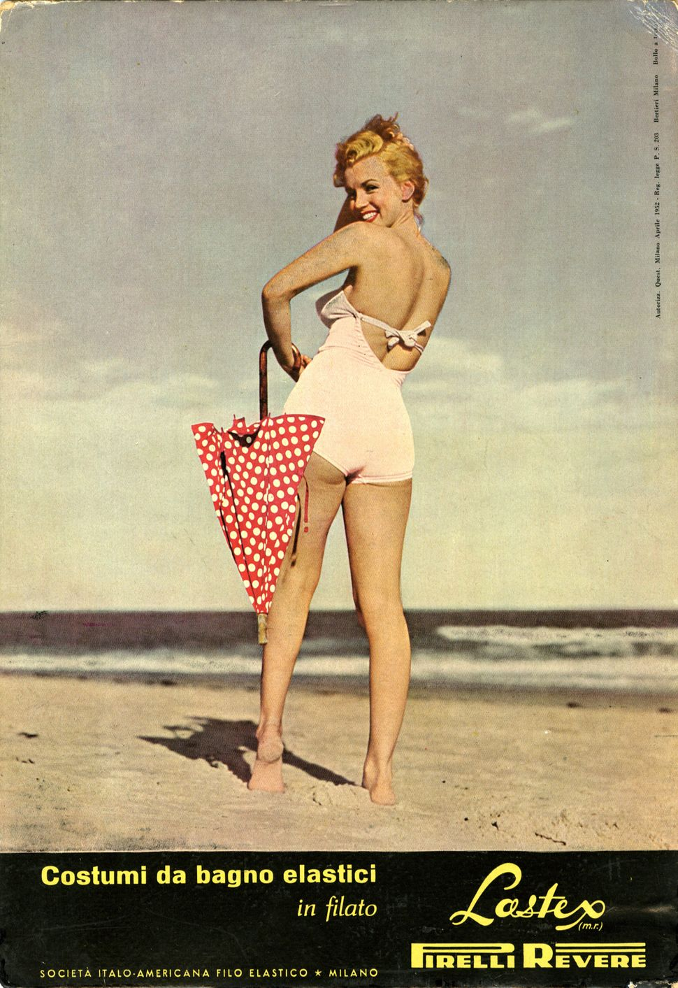Marilyn Monroe posing for the advertising of Pirelli swimwear. Found in the collection of Fondazione Pirelli, circa 1952.