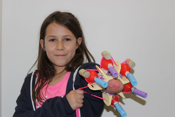 "Jordan with her prototype self-titled ""Project Unicorn,"" five-nozzle glitter shooter."