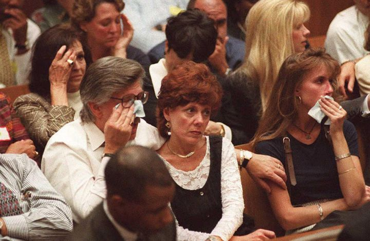 Family members of Nicole Brown Simpson and Ron Goldman on Sept. 26, 1995.
