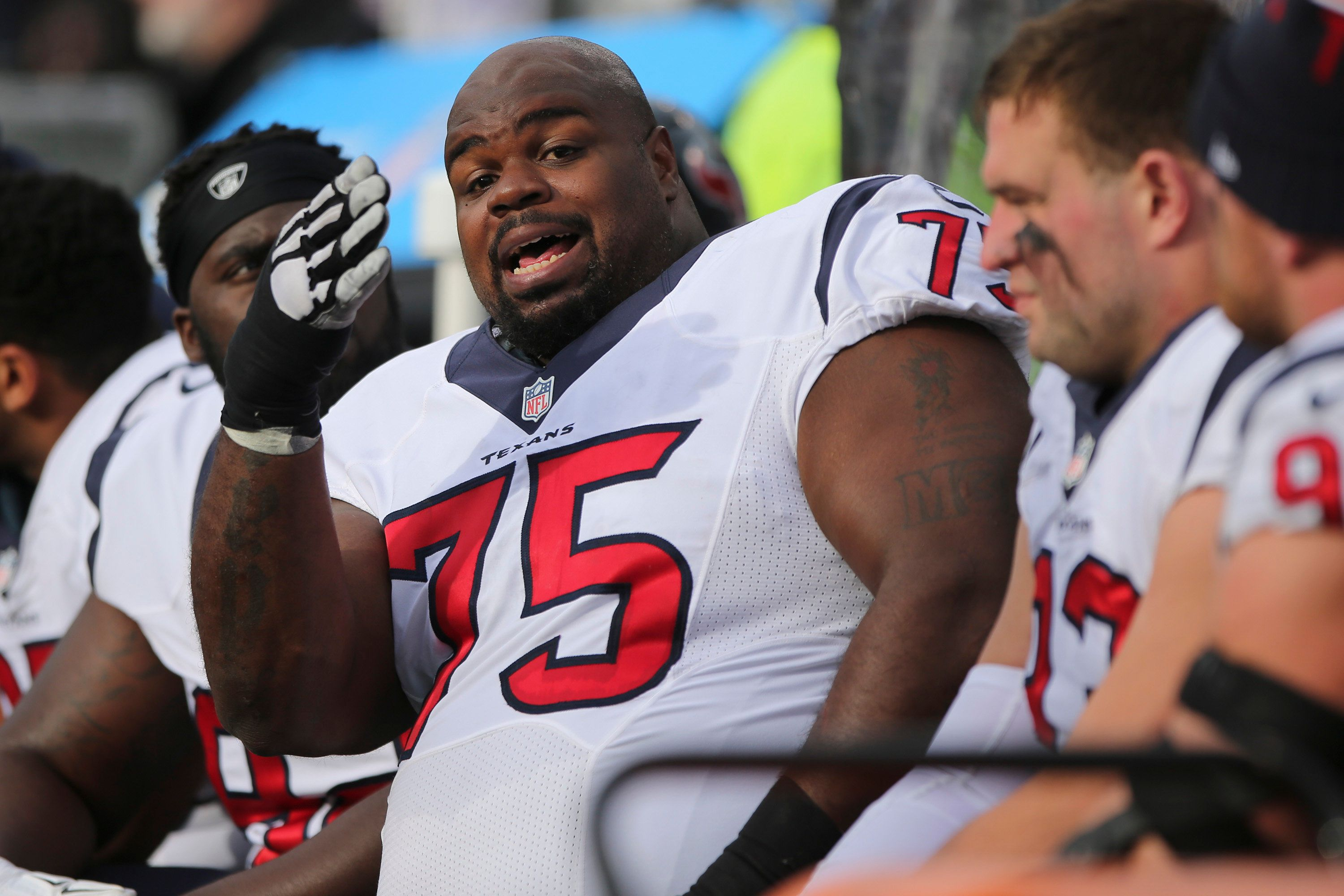 ORCHARD PARK, NY - DECEMBER 06: Vince Wilfork #75 of the Houston Texans talks to his teammates during the first half against the Buffalo Bills at Ralph Wilson Stadium on December 06, 2015 in Orchard Park, New York. (Photo by Jerome Davis/Getty Images)