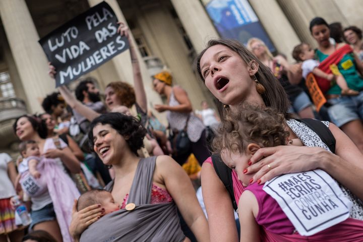 Brazilian women demonstrate in favor of abort legalization and against the president of the Brazilian Chamber of Deputies, Eduardo Cunha, in Rio de Janeiro downtown on November 11, 2015.