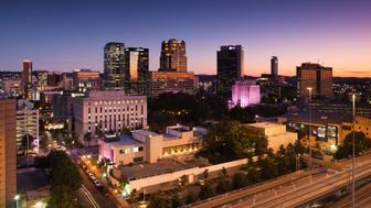 USA, Alabama, Birmingham, high angle view above Rt. 20/59, dusk