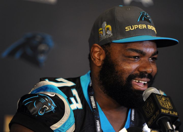 Carolina Panthers left tackle Michael Oher speaks ata news conference on Tuesday, Feb. 2, 2016, at the San Jose Convent