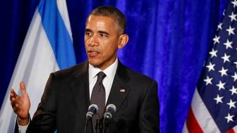 WASHINGTON, DC - JANUARY 27:  U.S. President Barack Obama speaks at the Righteous Among the Nations award ceremony honororing U.S. Master Sgt. Roddie Edmonds at the Israeli Embassy January 27, 2016 in Washington, DC. Edmonds posthumously is the first American service member to receive the award for actions he took as a prisoner of war in World War II. International Holocaust Rememberance Day marks the 71st anniversary of the liberation of the Auschwitz concentration camp in 1945.  (Photo by Aude Guerrucci-Pool/Getty Images)