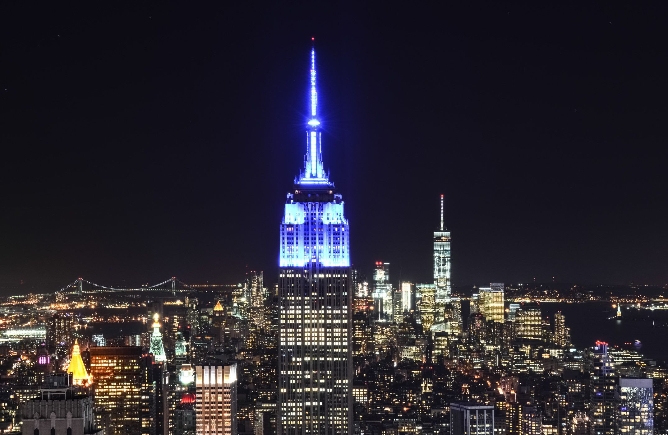 New York skyline illuminated at night with the Empire State building, World Trade Center and Statue of Liberty, USA.