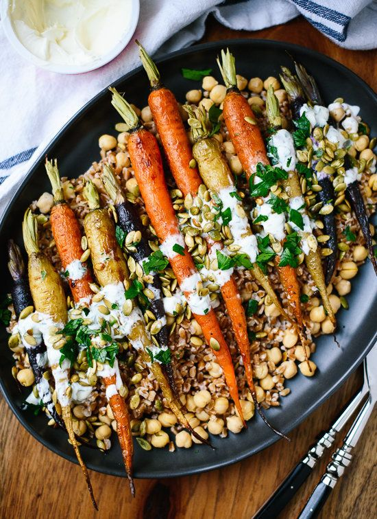 "<strong>Get the <a href=""http://cookieandkate.com/2015/roasted-carrots-recipe-with-farro-chickpeas/"" target=""_blank"">Roasted"