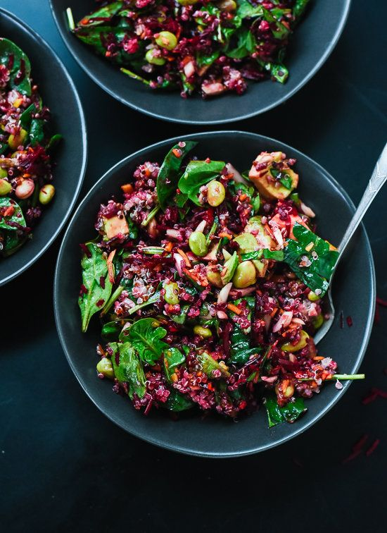 "<strong>Get the <a href=""http://cookieandkate.com/2015/raw-beet-salad-with-carrot-quinoa-spinach/"" target=""_blank"">Colorful B"
