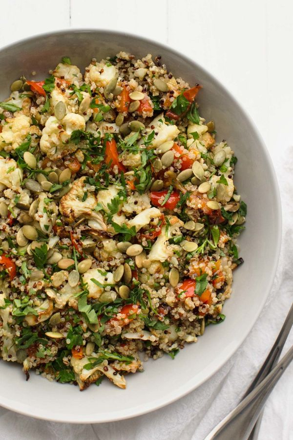"<strong>Get the <a href=""http://naturallyella.com/caramelized-cauliflower-roasted-red-pepper-and-quinoa-salad/"" target=""_blan"