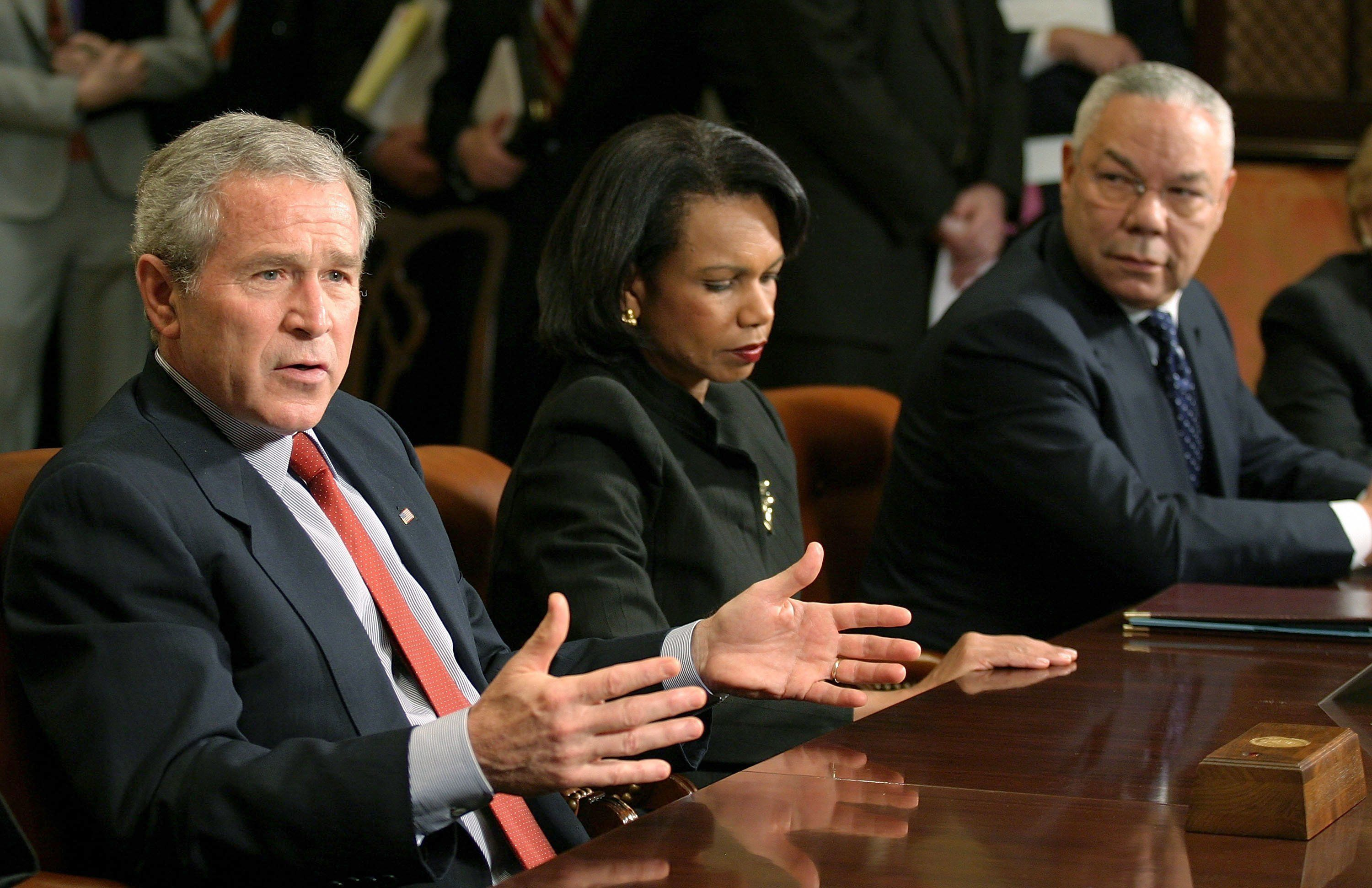WASHINGTON - MAY 12:  (AFP OUT)  (L-R) President George W. Bush, Secretary of State Condoleezza Rice, and former Secretary of State Colin Powell meet with other former and current Secretaries of State and Defense in the Roosevelt Room of the White House May 12, 2006 in Washington, DC.  (Photo by Martin Simon-Pool/Getty Images)