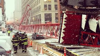 A photo taken on Feb. 5, 2016 shows the scene of a deadly crane collapse in the Tribeca neighborhood of New York City.