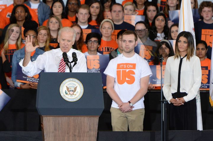 """Vice President Joe Biden and actress Jessica Szhor speak at the University of Illinois at Urbana-Champaign to promote the """"It's On Us"""" campaign."""