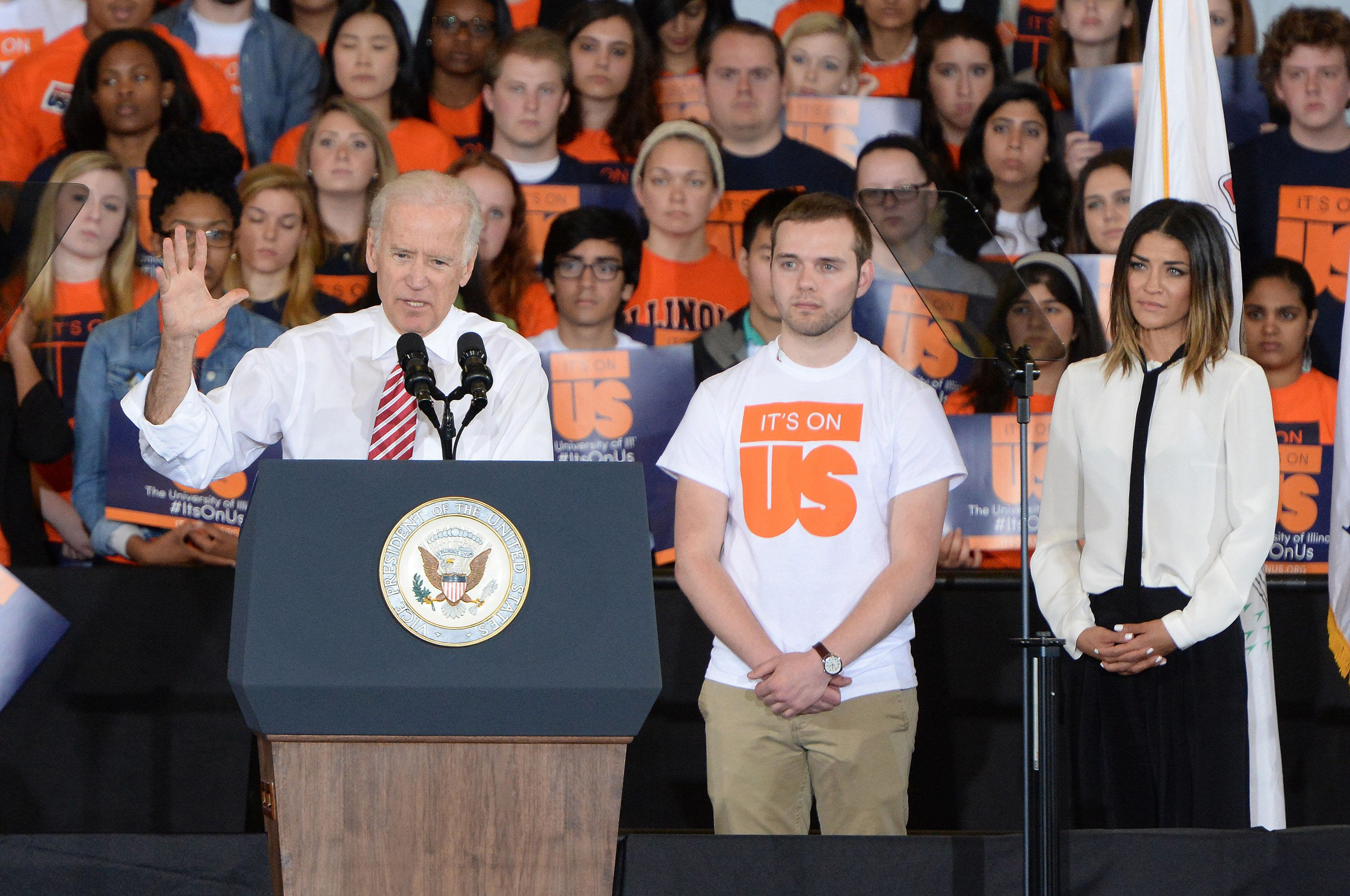 USA Network Events -- 'Vice President Joe Biden and Jessica Szhor, star of USA's 'Complications' address the students of the University of Illinois, Champaign-Urbana in support of the 'It's On Us' campaign to raise awareness and encourage action to stop sexual assault and domestic violence' -- Pictured: (l-r) Joe Biden, Mitch Dickey, Jessica Szhor 'Complications' -- (Photo by: Daniel Boczarski/USA Network/NBCU Photo Bank via Getty Images)