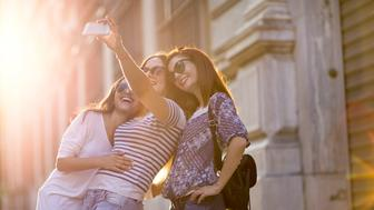 Three Girls Taking a Selfie