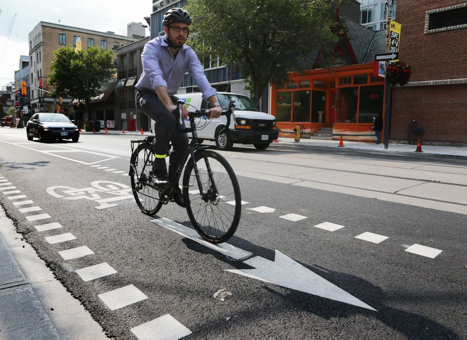 """Bike lanes are an&nbsp;<a href=""""https://www.huffpost.com/entry/bike-to-work-infographic-benefits-health_n_1145815"""">environmen"""
