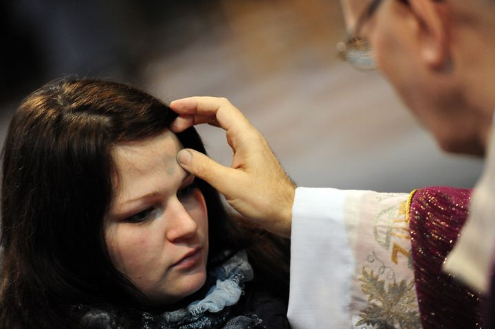 On Ash Wednesday, observers have ash placed on their foreheads in the shape of the cross as the words from Genesis 3:19 are s