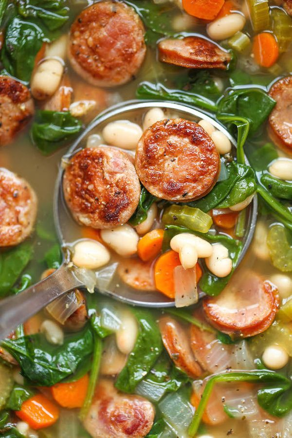 """<strong>Get the <a href=""""http://damndelicious.net/2015/03/21/slow-cooker-sausage-spinach-and-white-bean-soup/"""" target=""""_blank"""