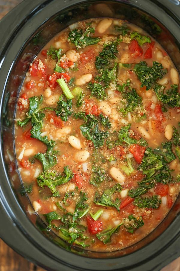 """<strong>Get the <a href=""""http://damndelicious.net/2016/01/07/slow-cooker-tomato-kale-and-quinoa-soup/"""" target=""""_blank"""">Slow C"""