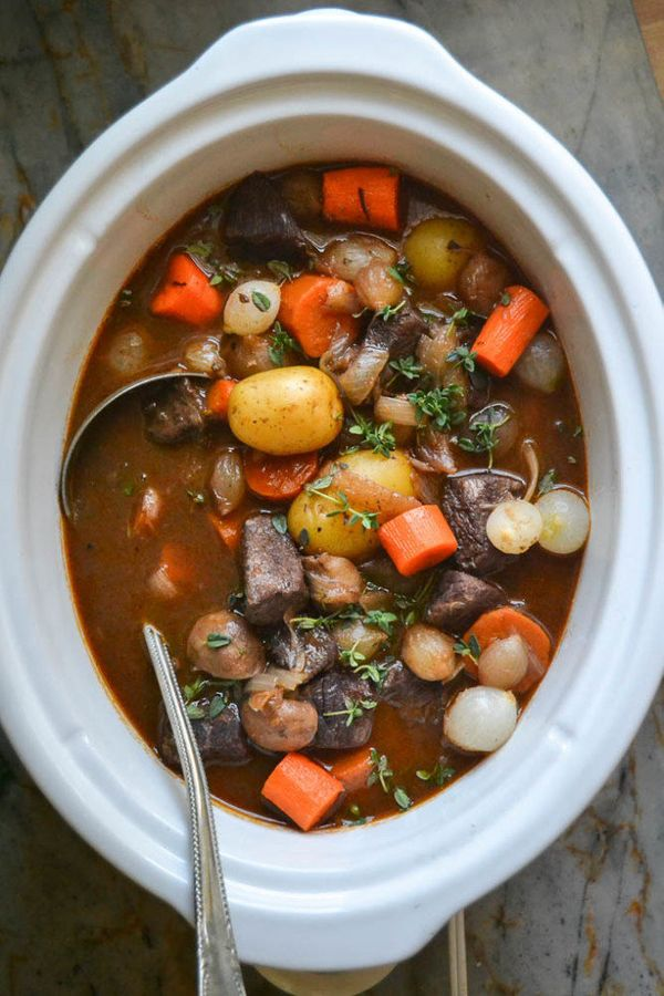 "<strong>Get the <a href=""http://theviewfromgreatisland.com/slow-cooker-crock-pot-beef-bourguignon/"" target=""_blank"">Slow Cook"