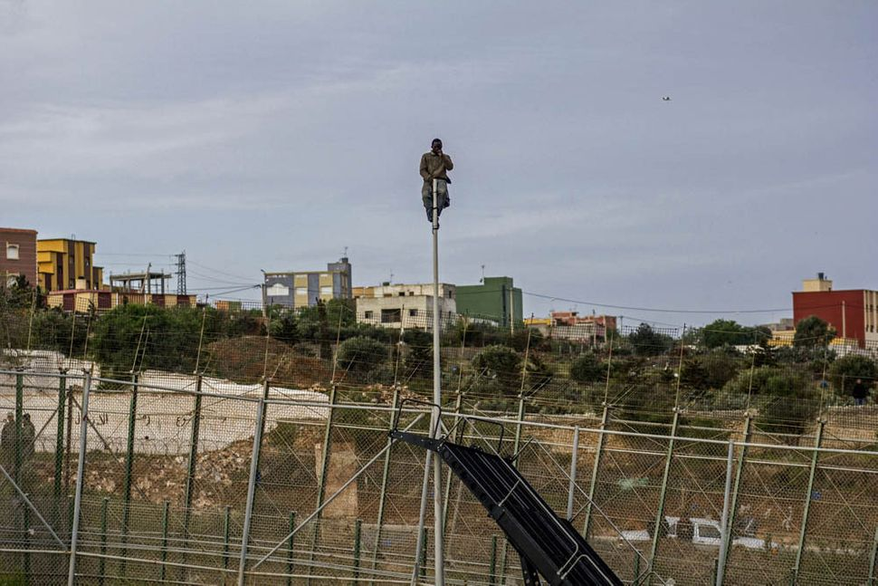 A man sits perched atop a lamppost to avoid being deported by Spanish police. He sat there for five hours until he fell from