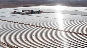 An aerial view of the solar mirrors at the Noor 1 Concentrated Solar Power (CSP) plant, some 20km (12.5 miles) outside the central Moroccan town of Ouarzazate on February 4, 2016.  Noor 1 is one of the largest solar plants in the world, which is the first stage of a larger project designed to boost renewable energy production in Morocco. / AFP / FADEL SENNA        (Photo credit should read FADEL SENNA/AFP/Getty Images)