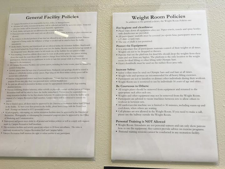 Gym and weight room policies at the Malley Fitness and Recreation Center at Santa Clara University