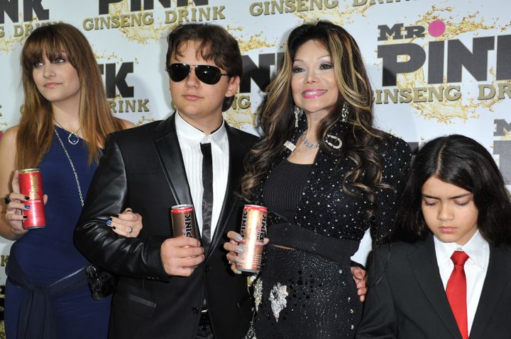 Paris Jackson, Prince Michael Jackson, La Toya Jackson, and Blanket Jackson attend the Mr. Pink Ginseng launch party at the B