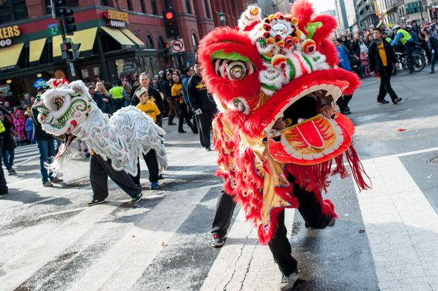 The Lion Dance is performed as the Chinese New Year parade makes its way down H Street during the Chinese...
