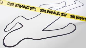 'Crime scene do not enter' banner above outline drawing of a person