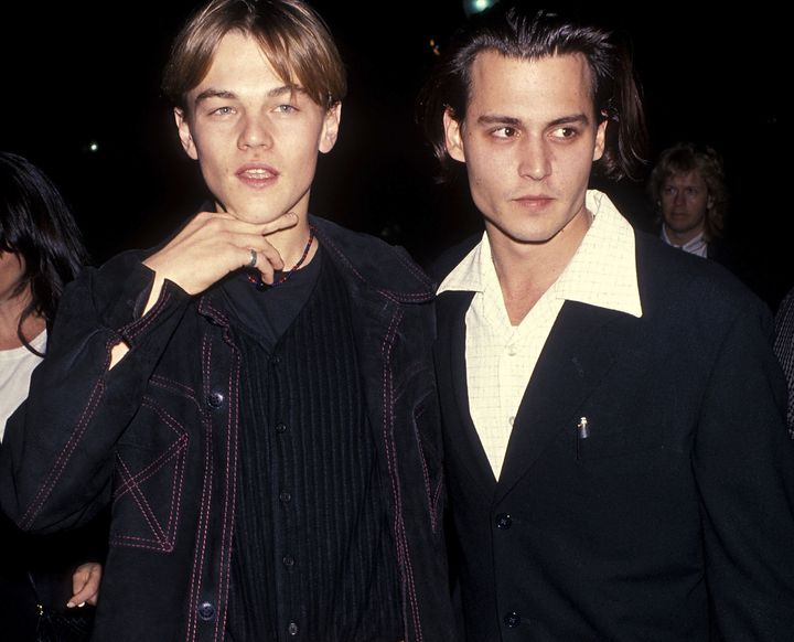 """Leonardo DiCaprio and Johnny Depp at the Los Angeles premiere of""""What's Eating Gilbert Grape""""onDec. 12, 199"""