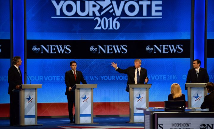 Marco Rubio was a target among GOP candidates at Saturday night's debate in New Hampshire.