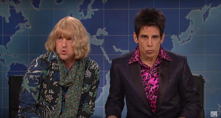 """Hansel (Owen Wilson) and Derek Zoolander (Ben Stiller) talking politics and fashion on""""Saturday Night Live,"""" Feb. 6 201"""