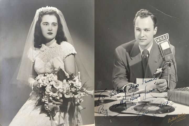 Left: My grandmother modelinga wedding dress in the photography studio where they met in 1948. Right: My grandfather po