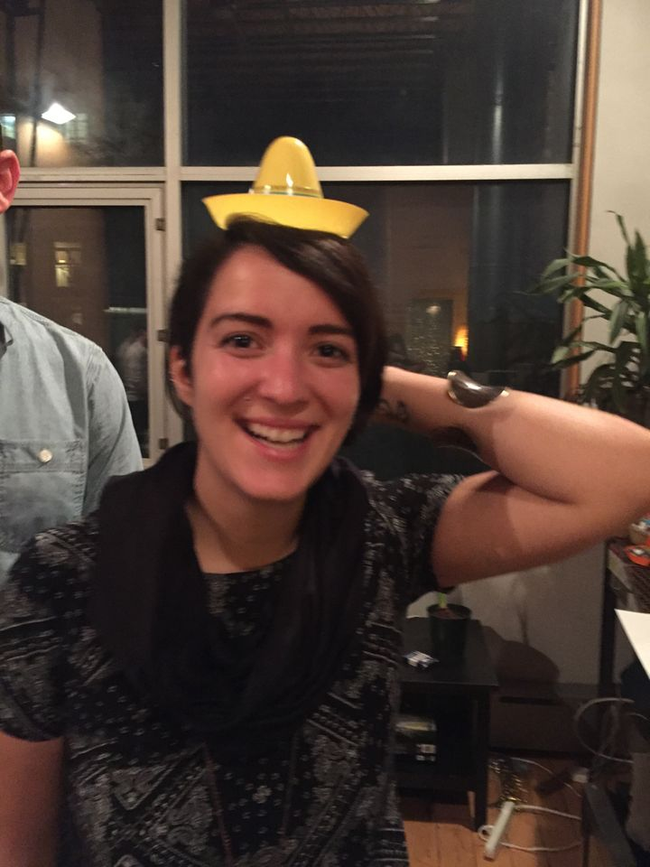 Look, that's me having a good time on the dance floor in a tiny hat. SOBER.