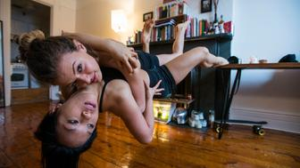 NEW YORK, NY - FEBRUARY 5:  Mia Fermandoza and Sarah pose for a levitation portrait in New York on Feb. 5, 2016. (Photo by Damon Dahlen, Huffington Post) *** Local Caption ***
