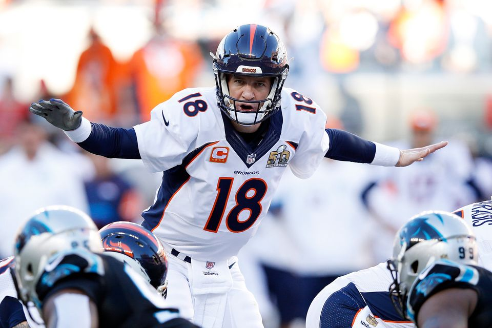 SANTA CLARA, CA - FEBRUARY 07:  Peyton Manning #18 of the Denver Broncos gestures in the first quarter against the Carolina P