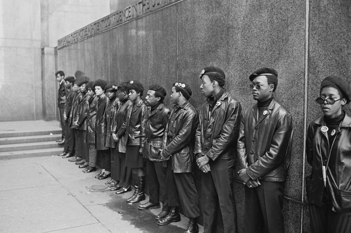 View of a line of Black Panther Party members as they demonstrate outside the New York City courthouse on April 11, 1969