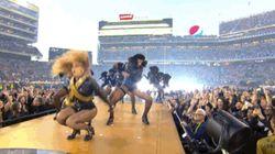 La casi caída de Beyoncé durante la Super