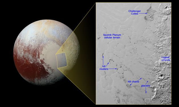 The icy floating hills of Pluto are located in the SputnikPlanum, or the planet's heart-shaped