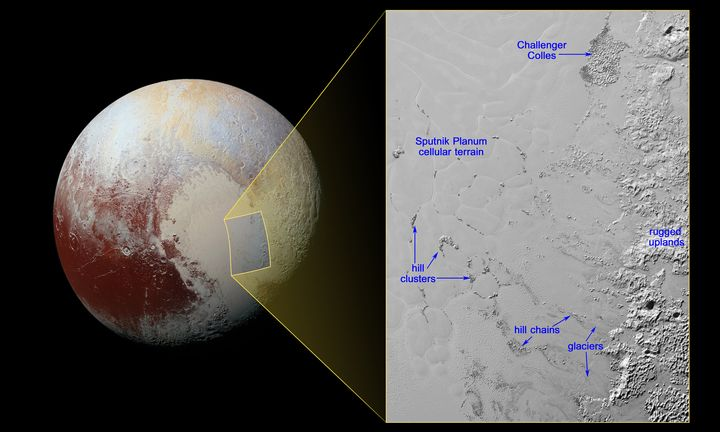 The icy floating hills of Pluto are located in the SputnikPlanum, or the planet's heart-shaped region.