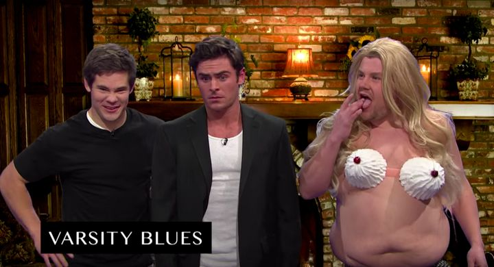 """Adam DeVine, Zac Efron and James Corden, paying homage to Ali Larter's famous scene in """"Varsity Blues."""""""