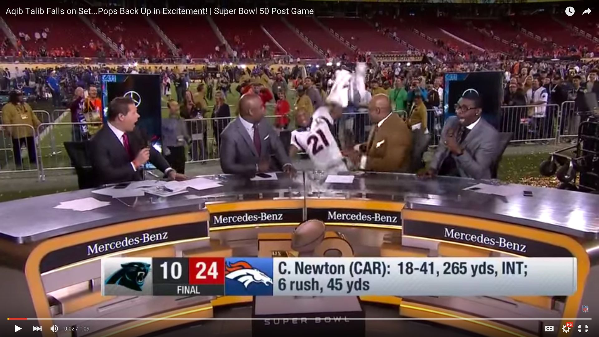 Broncos Cornerback Aqib Talib's wipeout entrance left a panel of NFL broadcasters in stitches.