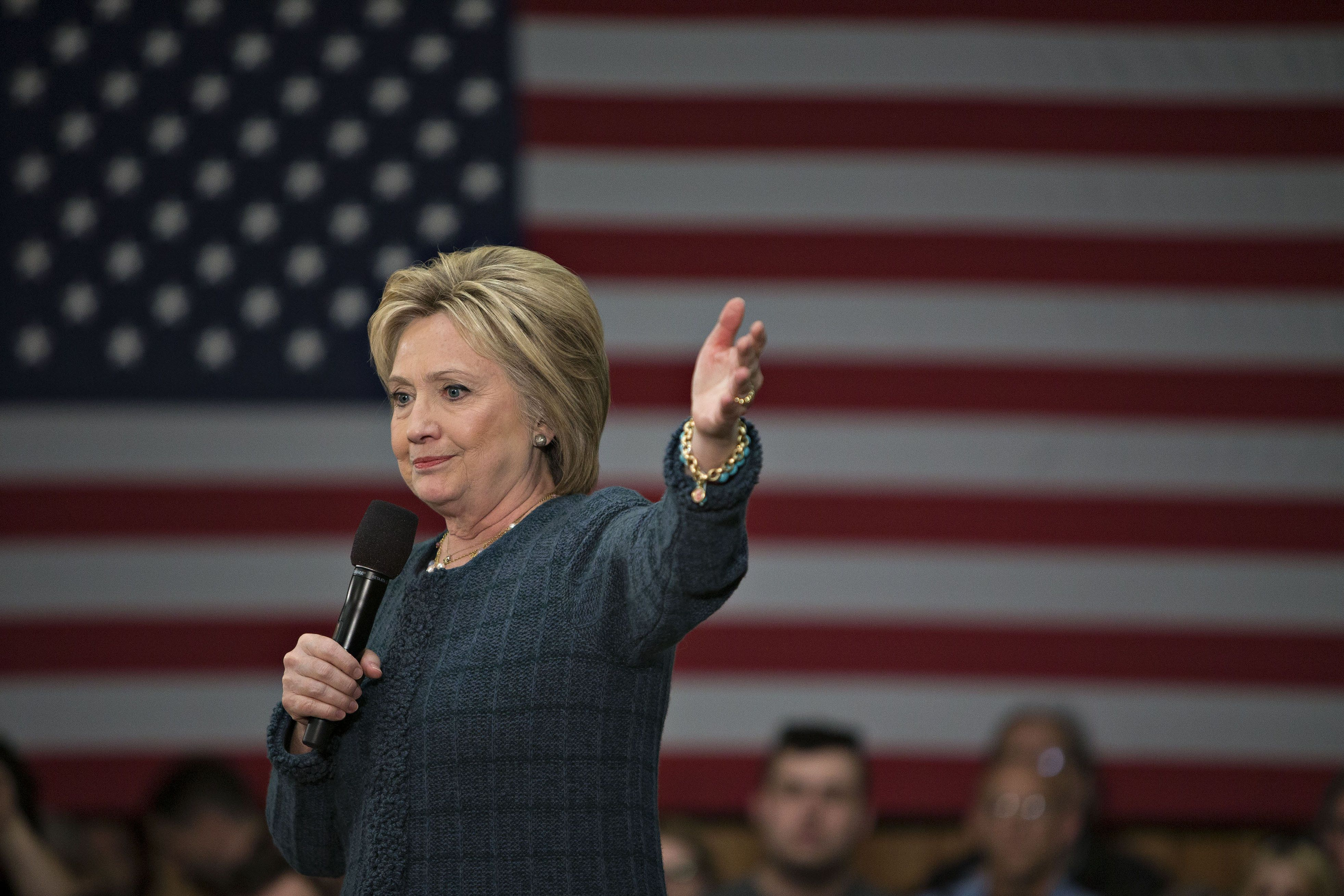 Clinton speaking at a campaign event in New Hampshire on Saturday.