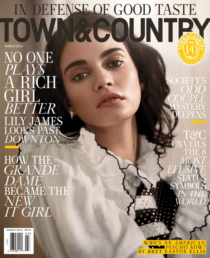 'Cinderella' star Lily James covers the March issue of Town & Country. (Vincent Peters/ Town & Country)