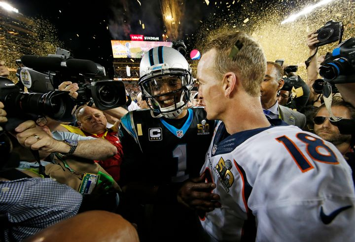 Cam Newton congratulating Peyton Manning after Super Bowl 50.
