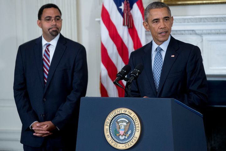 Acting Education Secretary John King Jr. with President Barack Obama in the White House in 2015. King announced a new departm