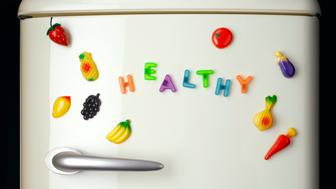 Fridge magnets spelling out 'healthy'